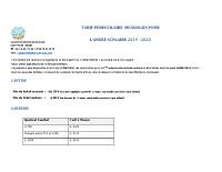 TARIF PERISCOLAIRE 2019-2020