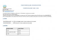 TARIF PERISCOLAIRE 2020-2021