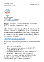 inscription ecole septembre 2021